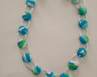 Preppy Necklace,Fabric Coverbutton Necklace, Coverbutton Metal Necklace, Blue Necklace, Preppy Necklace, Preppy Inspired Necklace, Handmade