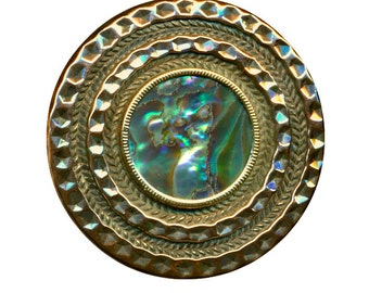 Button ~ Shimmery Bright Brass & Abalone Pearl Victorian Jewel