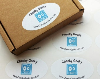 Oval Envelope seals, personalised sticky labels, party favour stickers, white background (60mm x 34mm)