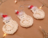 Christmas Tree Ornament - Crochet Cats - Santa Hats - set of 3 - Tree Decoration