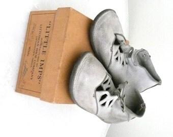 Vintage Little Imps Baby Shoes and Original Imps Shoe Box