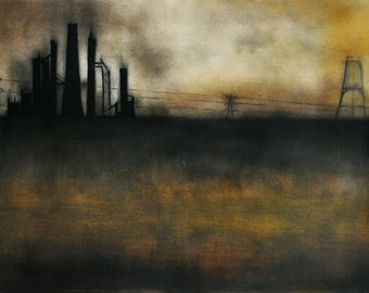 Factory Original Charcoal Drawing Gothic Haunted Landscape Old Factory Abbandoned Industrial Place LARGE 20x26""