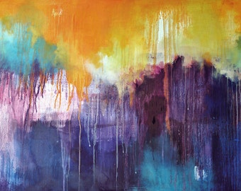 "Rain 15 Original Abstract Painting LARGE 43x30"" UNSTRETCHED Rolled in a tube"
