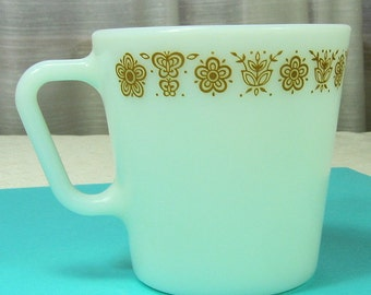 Vintage Pyrex Coffee Mugs-  Butterfly Gold