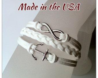 Infinity and small anchor bracelet, charm bracelet, friendship bracelet