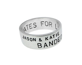 Men's Silver Wedding Band with Hand Stamped Names Date Vows Engraved Secret Message on the Inside of the Ring Spring Wedding Jewelry