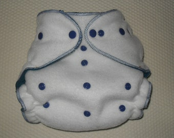 Fleece diaper cover wrap white with blue snaps