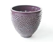 Decorative Purple Stoneware Vase - Asymmetric Pierced Pottery - Contemporary Ceramic Art Vessel