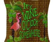 It's Wine O'Clock somewhere flamingo throw pillow available in 4 sizes