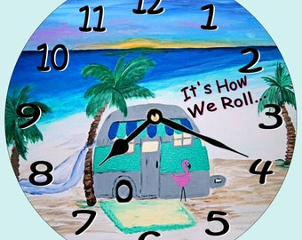 Air stream camper on the beach  wall clock - available in 2 sizes
