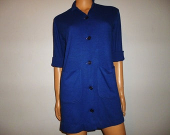 "Vintage 50's or 60's - Blue - Button Up - Mini - Dress with Large Front Pockets - new old stock NWT - 38"" bust"