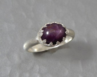 Starlight - Star Ruby, Sterling Silver ring, Size 7