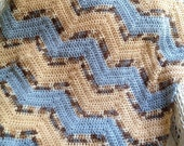 new chevron zig zag ripple baby blanket afghan wrap crochet knit wheelchair stripes VANNA WHITE blue beige yarn handmade in USA