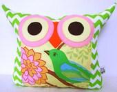 Green Owl pillow /Pink/ Chevron/ zig zag/ home decor /living room decoration/ summer bird owl pillow