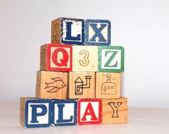 Wooden Vintage Alphabet Blocks-Smaller