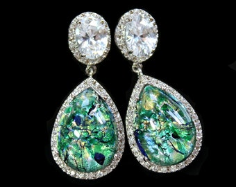 Vintage Green and Blue Opal Crystal Teardrops Surrounded with Pave CZs on Silver Cubic Zirconia Post Earrings