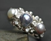Diamond Melee and Pearl Engagement Ring- Custom Made Custom Colour