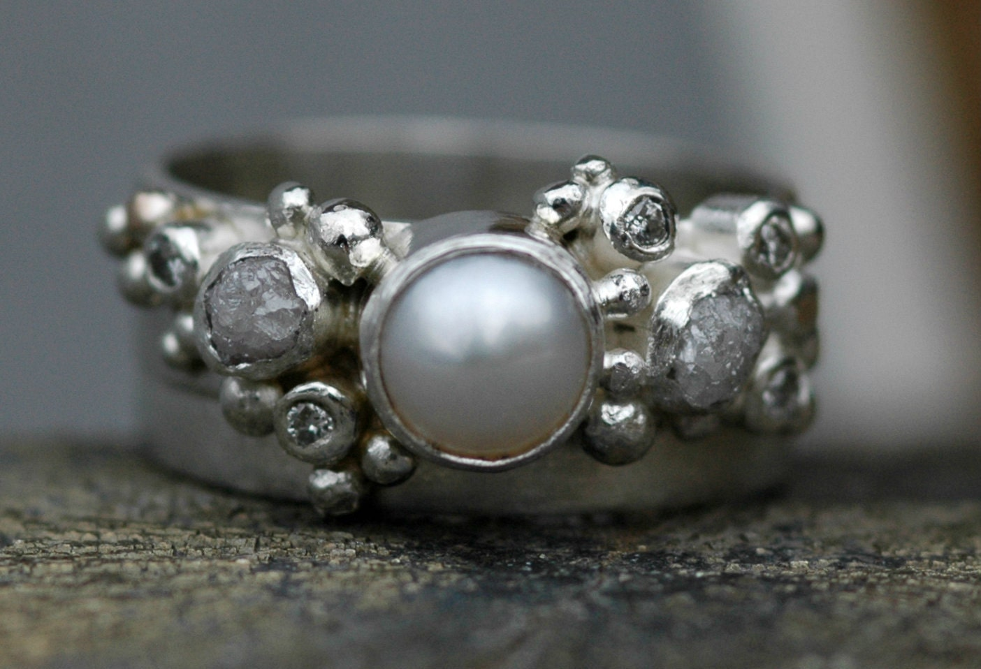 Rough Diamond Diamond Melee And Pearl Engagement Ring And