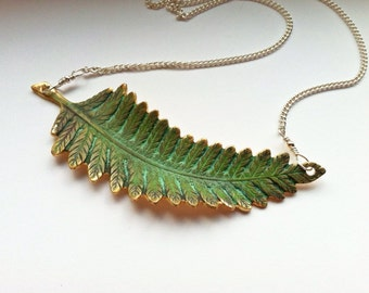 Verdigris & Brass Leaf Necklace