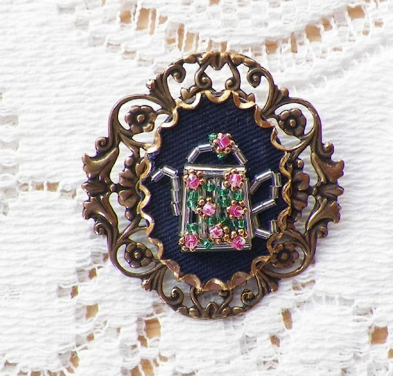 Glass Bead Silver Teapot with Tiny Pink Roses / Flowers with Green Leaves on Navy Blue Material Pin / Brooch Handmade, Hand Beaded, OOAK
