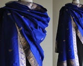 Large Paisley India Silk Shawl ROYAL BLUE & SILVER: Handwoven - India