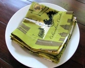 New York Cloth Napkins 12 x 12 inches Green Yellow White Vintage Inspired