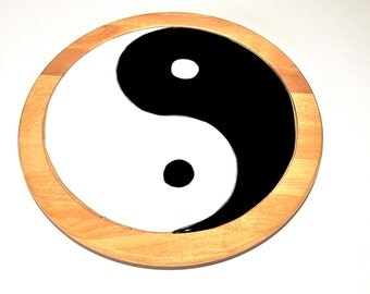 Wooden Lazy susan with fused Yin and Yang symbol