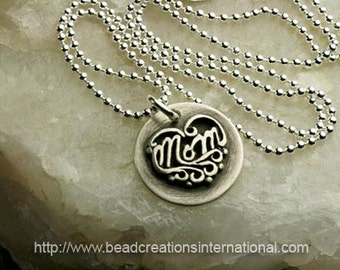 NEW Sterling Silver Mom Charm Soldered to a Sterling Silver Disc Hand Stamped Necklace