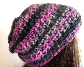 Crochet Black Grey Pink Beanie for Fall and Winter, For Women and Teens