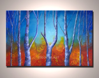 Birch Trees-  Orange blue. Fall color painting print. LARGE landscape painting print, 20 by 30 inches,  ready to be hung, free shipping.