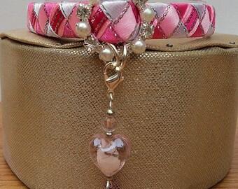 Pink Cat Collar Designer Breakaway Style with Diamante Buckle
