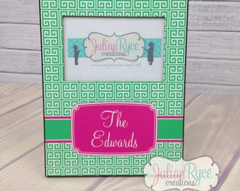 Custom Monogrammed Greek Key Picture Frame