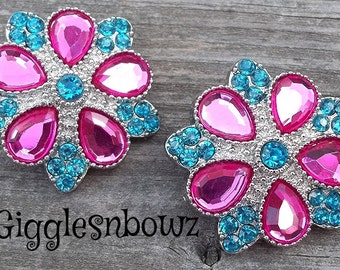 Rhinestone Buttons- NEW Set of TWO LiMiTED EDiTiON FaNCY XL Buttons- HoT PiNK/TuRQUOiSe 30mm