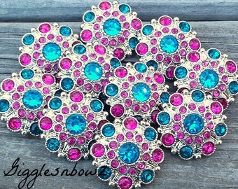 NEW Set of 10 LiMITED EDITION Turquoise/ Shocking Pink/ Teal Acrylic Rhinestone Buttons 27mm