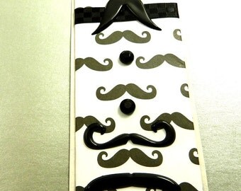 Mustache Bookmark, Black and White (#1), Zine, Journal, For Him, Stocking Stuffer, Birthday, Father's Day, Grand Dad
