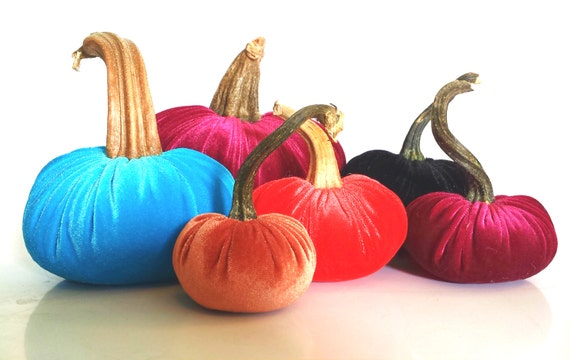Velvet Plush Pumpkins with Real Stems by twenty8divine
