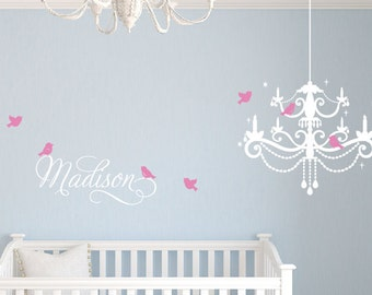Personalized Name Decal with Chandelier Wall Decal Set, Baby Wall Decals, Name Decal with Chandelier Wall Decal Set, Bird Wall Decals