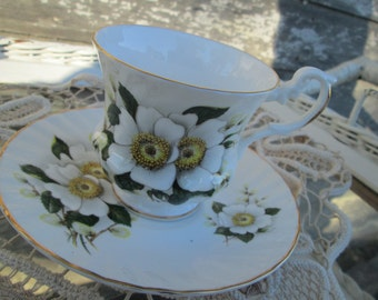Vintage Teacup Tea Cup and Saucer White Flowers Apple Blossoms  English Bone China
