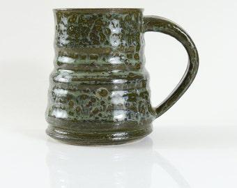 14 oz Mug Textured Ceramic Earthy Olive Green Ceramic Mug Large
