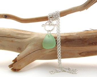 Sterling Silver Necklace w/Toggle Clasp and Beach Glass Drop - Seafoam