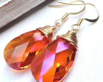 Swarovski Crystal Earrings - Copper Swarovski Crystal Teardrop Briolette Earrings Gold Filled