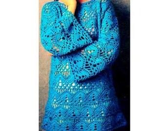 INSTANT DOWNLOAD PDF Vintage Crochet Pattern  Lace Tunic Top