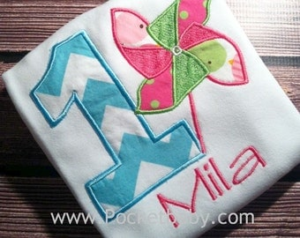 Personalized Pinwheel Birthday Shirt - Personalized Pinwheel Tee - You Choose your Fabrics - by Pocketbrand