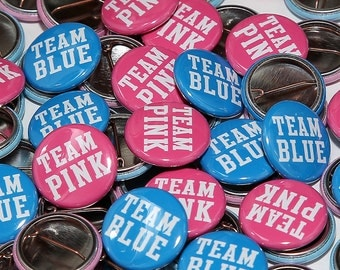 "50 Baby Shower 1"" Pinbacks - Team Pink Team Blue BOLD - Gender Reveal Party Favors"
