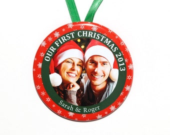 Our First Christmas Ornament - personalized with your names and photo - C47