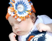 BRONCOS FOOTBALL FLOWER....Headband see shop for all other teams