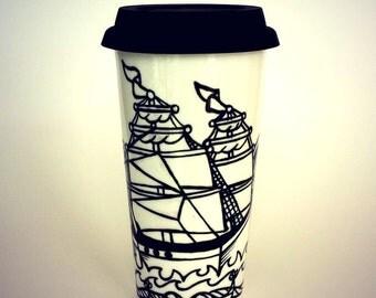 16oz Ceramic Travel Mug Ship Tattoo Nautical Sailor pirate black white Hand Painted Turquoise scales scallops - READY TO SHIP on sale