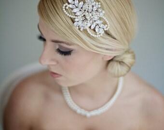 Bridal headband, pearl bridal hair accessories, rhinestone bridal headpiece, wedding hair piece, leaf flower wedding hair accessory, vintage