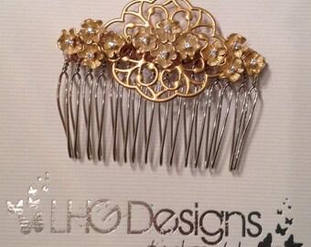 Matt gold champagne bridal vintage comb flower