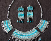 vintage turquoise bib necklace and earring set